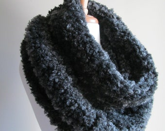 Wool Infinity Knitted Scarf Snood Neckwarmer Long Endless Circle Boucle Charcoal Grey Scarf  Women Girls Accessories