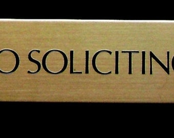 Brass No Soliciting Sign Engraved Plate 3 X 3 4