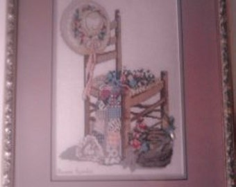 Vintage Counted Cross-Stitched  Country Picture ECS