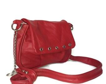 Red Leather Crossbody Bag, Women Handbags, Small Shoulder Purse, Weekend Handbags, Sury