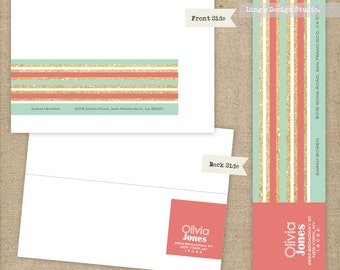Gold Glitter Stripes Wrap Around Address Labels | Printable