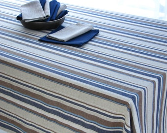 Linen Tablecloth / Striped / Navy / Brown Stripes / Country