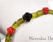 Rose Noir OOAK beaded bracelet.