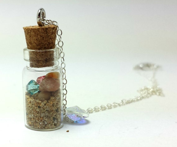 hawaii sand bottle necklace on sterling silver chain