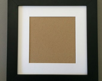 12x12 Square Black Picture Frame with White Mat for 8x8 Picture