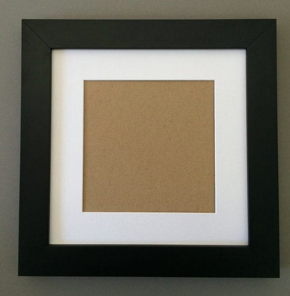 12x12 Square Black Picture Frame With White Mat For 8x8