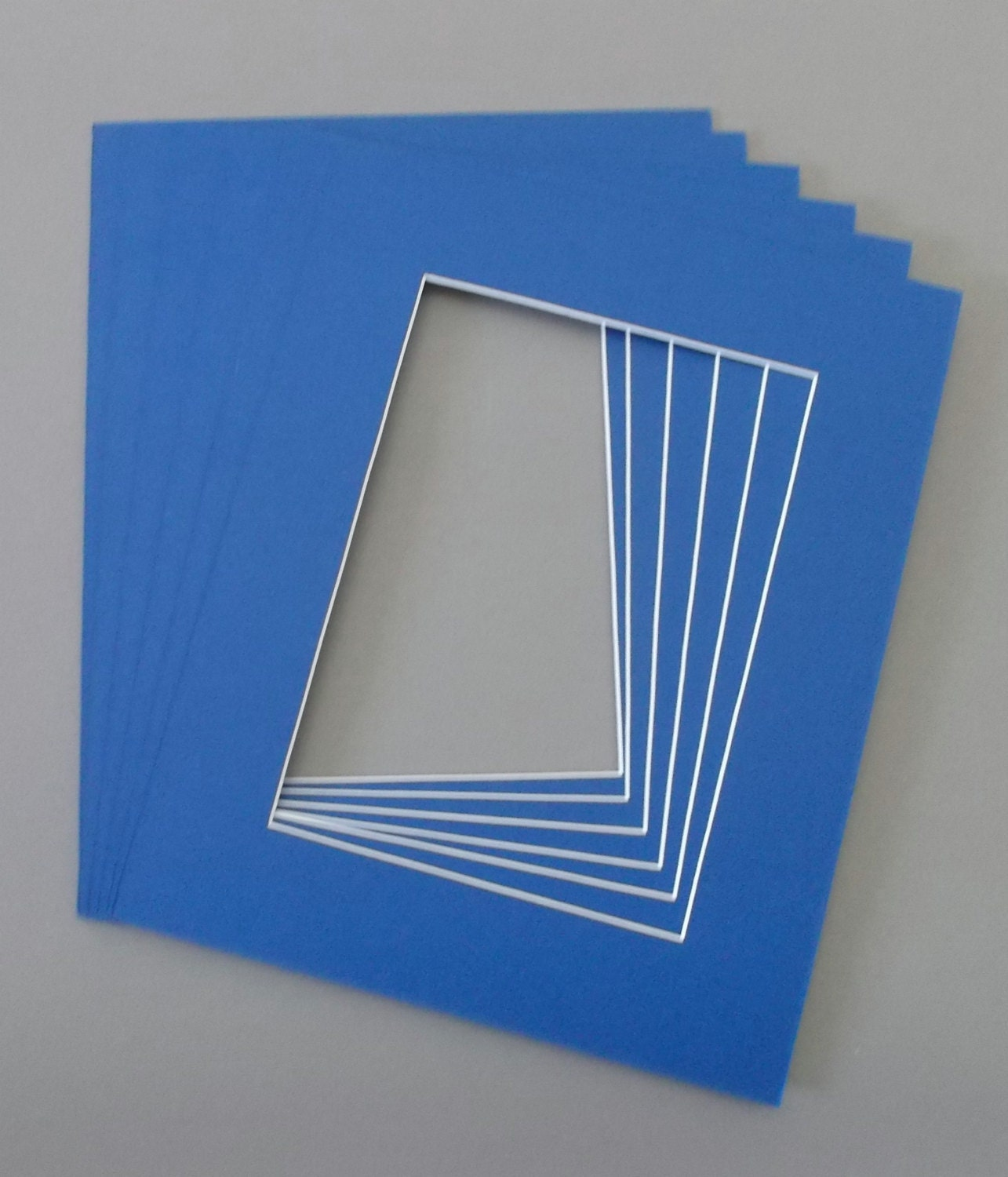 Package Of 5 16x20 Royal Blue Picture Mats With White