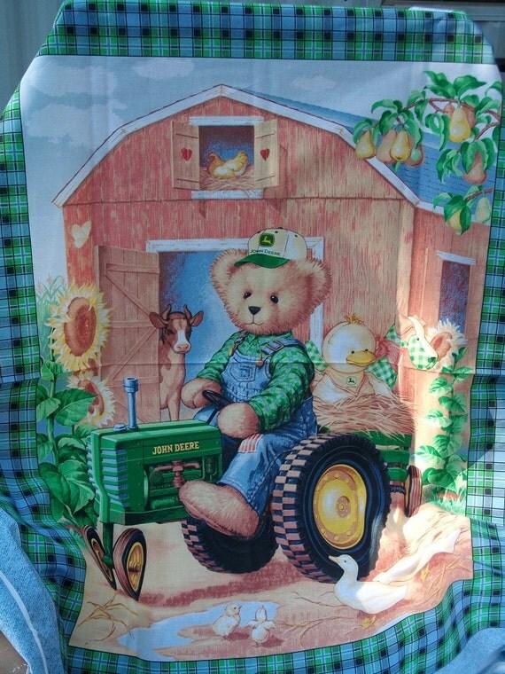 John Deere Teddy Bears : John deere tractor teddy quilt panel farm