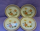 "Vintage Highland Florals Collection Salad Plates Set of 4 Bread & Butter ""Highland Blue"" Pattern from 1970s Japan Stoneware Ceramic Plate"