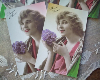 Delightful Set of Five Antique French Paris Art-Deco Colour Tinted Bonne Annee Happy New Year Postcards-Pristine,Unused