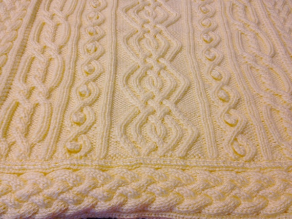 Knitting Pattern: Twisty Celtic Aran Afghan, Fisherman, Cables from TigerNeed...