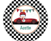 "Vintage Race Car Personalized 10"" Melamine Plate, 20 oz. Bowl or 2 Piece Set 