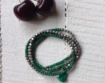 Green Wrap Bracelet Emerald Beaded Wrap Boho Bracelet Gemstone Wrap Bracelet