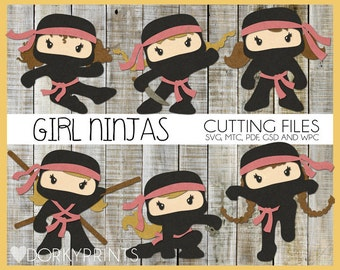 Girl Ninja SVG Cutting Files -For Use with Cutting Machines - svg, mtc, pdf, gsd, and wpc files