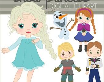 Snow Princess Clipart Set -Personal and Limited Commercial- Princess Snowman Clip art