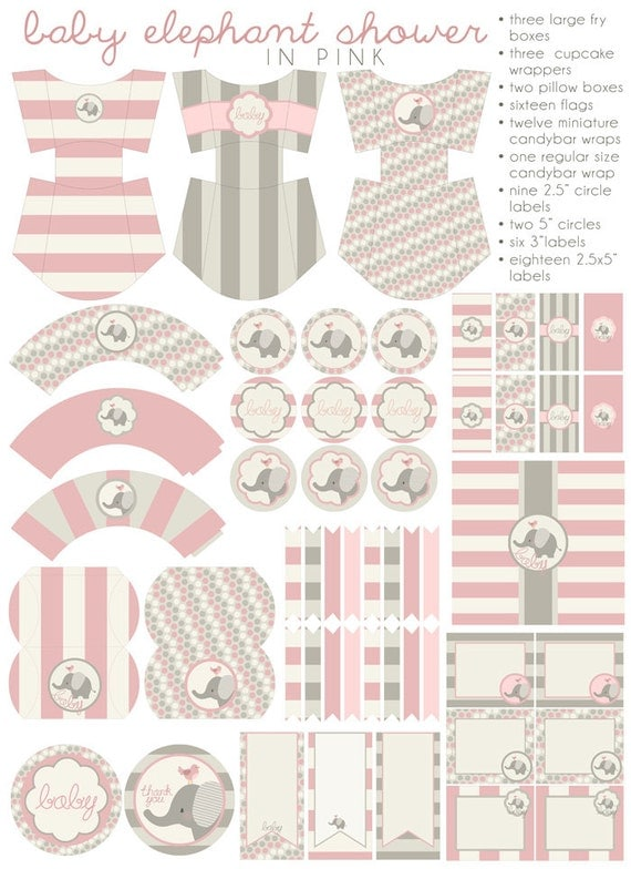 Pink Elephant Baby Shower Printables Pdf Printable Party