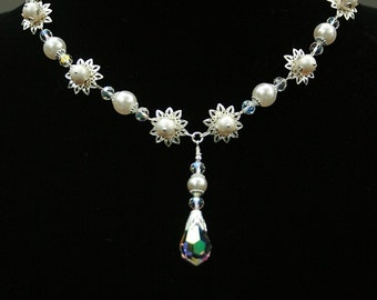 Faux Pearl Flower Swarovski Crystal Wedding Necklace Crafted from Vintage Elements Wedding Special Occasion