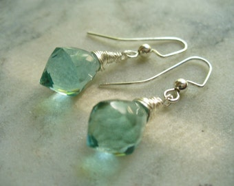 Aqua Quartz Faceted Chandelier Briolettes Earrings, Wire Wrapped, Weddings, Gemstone, Womens Jewelry, Birthday Gift, Silver, Spring