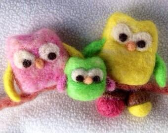 Needle felted, owl family Christmas ornament