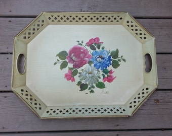 Gorgeous Toleware Tray by Nashco, New York, signed by Artist, 20 Inches by 15 Inches