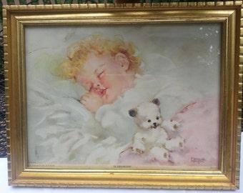 So Sweet Florence Kroger Sleeping Baby Framed Print In Dreamland