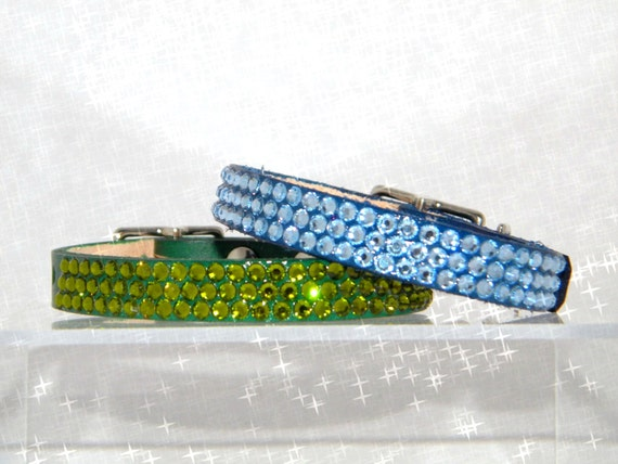 10-12 Leather Custom Pet Collar w/Swarovski Bling Jewels +70 Crystal Color choice Breakaway Safety Style Cat or small Dog gift necklace