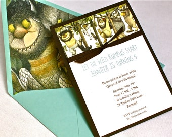 Where the Wild Things Are Birthday Invitation - Grosgrain Ribbon, Envelope Liner, Multi-Layered Invitation