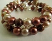 Chocolate, vanilla and cinnamon pearl stackable bracelet