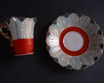 Demitasse Flower-shaped cup and Leaf-design saucer - Occupied Japan