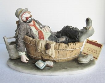 Vintage Flambro Emmett Kelly Jr. Saturday Night Large Figurine.