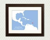 PERSONALIZED ENGAGEMENT GIFT- Costa Rica Map with a heart for an Engagement, Destination Wedding, Honeymoon, Anniversary or Holiday