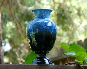 Black and Bright Sky Blue Vase - hand thrown pottery