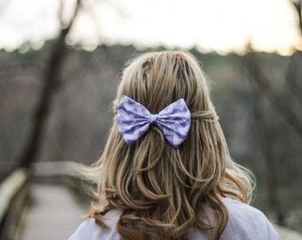Purple Chevron/Zig-Zag Printed Hair Bow