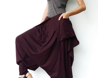 NO.84 Plum Cotton Jersey Cool Unique Asymmetric Harem Pants, Trendy Unusual Trousers, Jumpsuit