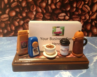 Polymer clay Coffee business card holder,polymer clay Kawaii fresh brew coffee,coffee creamer,coffee pot, fresh bag coffee,handmade