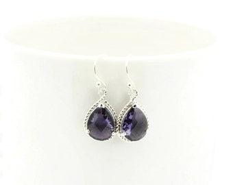 Dangle Earrings - Purple Gemstone, Silver Wrapped - Sterling Silver Earwire - Bridesmaids Earrings - Bridal Earrings