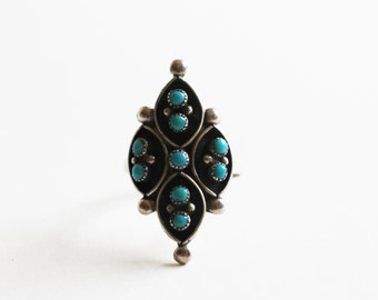 1970s Modernist Design Native American Ring Turquoise Ball Beads