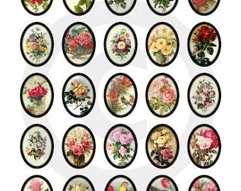 Roses and Flowers Vintage Ephemera 30x40mm Ovals ....Instant Digital Download