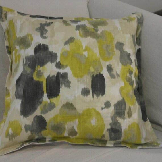Throw Pillow Cover  - 18 x 18 - Robert Allen's Landsmeer Citrine -Citrine & Slate Grey Linen-Cotton-Rayon- Flange Edge