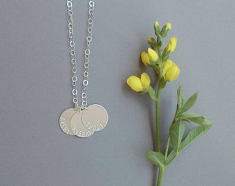 simple sterling silver personalized necklace // three charms // hand stamped jewelry