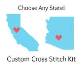 State Love Hometown Map Cross Stitch KIT - Choose Any U.S. State