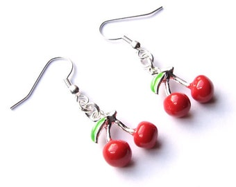 Rockabilly Pinup Girl Sweet Red Cherry Silver Tone Euro Wire Earrings