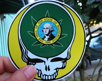Washington State Pot Leaf Steal Your Face Washington Marijuana Legalized High Quality Vinyl Sticker