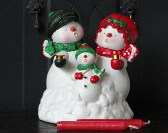 """Vintage Porcelain Snow Man Music Box, """"Frosty the Snowman,"""" Christmas Holiday Decorations"""