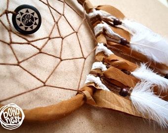Dream Catcher - Whispering Sun - With Wooden Sun Amulet, Brown Frame and White Feathers - Home Decor, Mobile