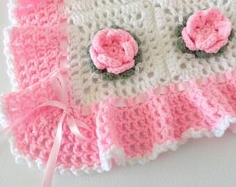 Crochet Baby Blanket Rose Flower Afghan Pink White - Crib Bedding, Nursery Decor, Baby Girl, Baby Shower Gift, Throw