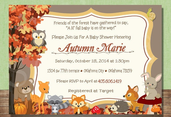 Woodland Animals Fall Forest Themed Baby Shower Invitation