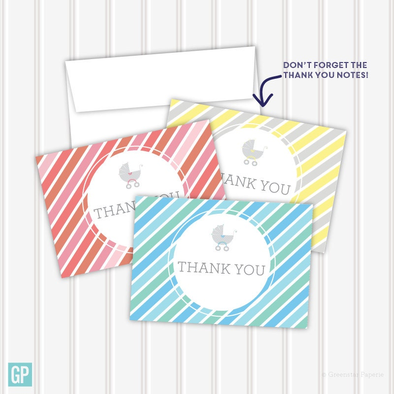striped baby shower carriage thank you notes