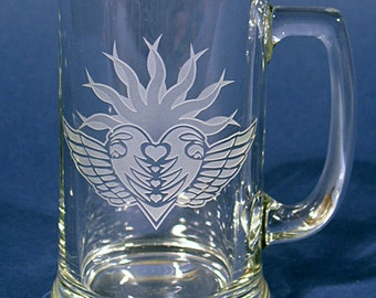 Etched and Shaded Beer Mug