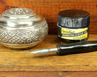 Decorative Floral Silver Pot Vintage Inkwell Small Speedball Ink Bottle and Dipping Pen - Black and Silver